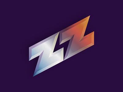 ZZ lightning bolt texture gradient retro logo