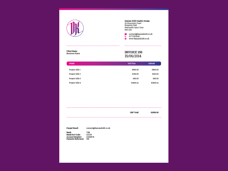 Invoice Design By Damian Kidd Dribbble - How to design an invoice