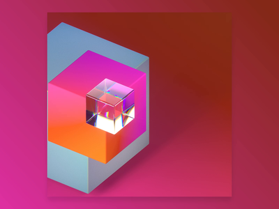 Isometric Boxes nft colourful bright gradient cinema4d c4d abstract 3d