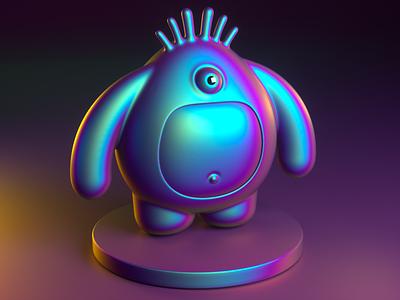 Zerleferf iridescent gradient character design monster 3d cinema4d octane render c4d