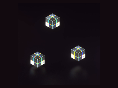 Play light glass isometric motion graphics animation 3d