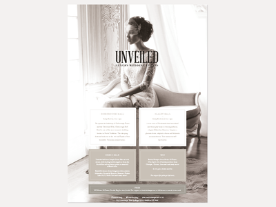 Unveiled Events advert editorial magazine marketing bridal weddings brides