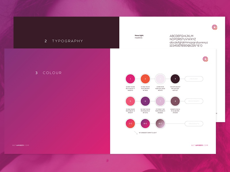 Colour And Type style guide logo identity startup branding a beauty app gradient