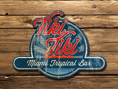 Tiki Tiki graphic design design branding logo surf tiki retro wisdom script vintage textured