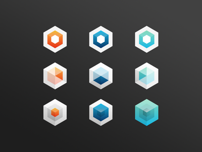 6 Sided gradient icons 6 hexagons geometric