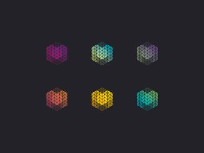 Mmmmmm identity branding m letter m gradient generative hexagon logo