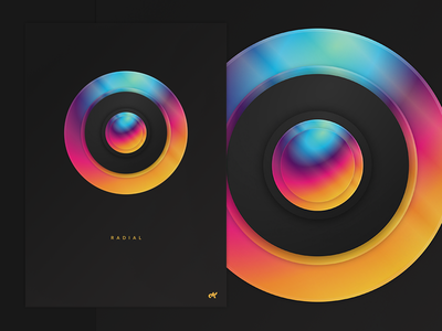 R  A  D  I  A  L poster rainbow bright radial gradient