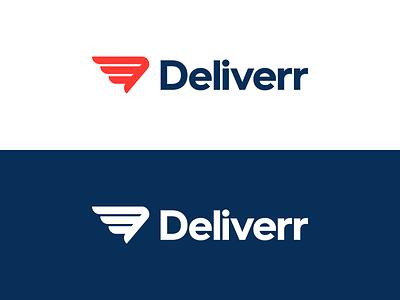 Deliverr hermes fulfillment deliver logo branding identity d wing movement