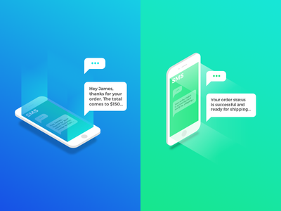 SMS Order Notifications colourful gradient isometric marketing product api web ecommerce moltin