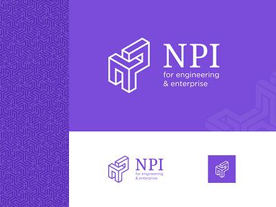 NPI enterprise engineering logo design monogram identity branding. isometric logo