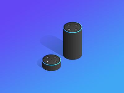 Echo Dot dot echo amazon devices colourful gradient isometric marketing product api ecommerce moltin