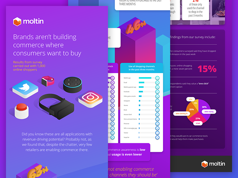 Survey Results Infographic colourful gradient isometric marketing product api web ecommerce moltin