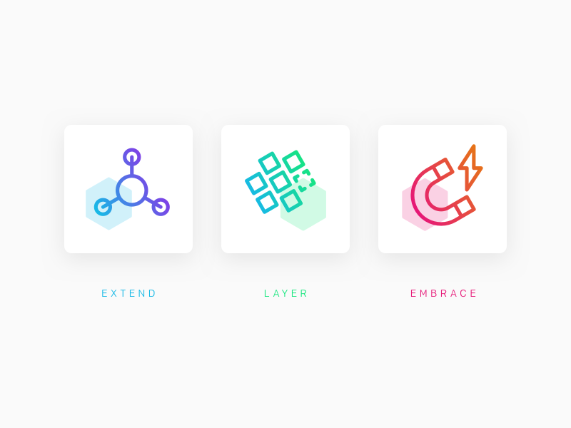 Hex-icons iconography icons hexagon colourful gradient isometric marketing product api web ecommerce moltin