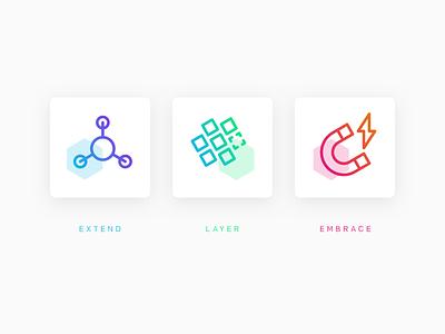 Hex-icons iconography icons hexagon colourful gradient isometric marketing product api web ecommerce moltin