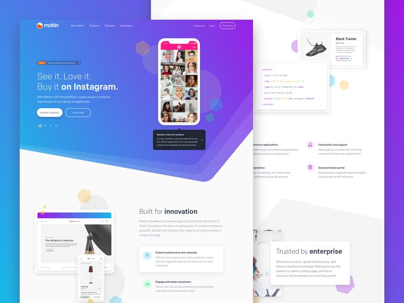 Moltin Restyle commerce colourful gradient isometric marketing product api web ecommerce moltin