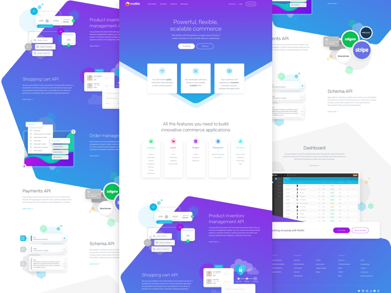 Product Page moltin ecommerce web api product marketing isometric gradient colourful commerce