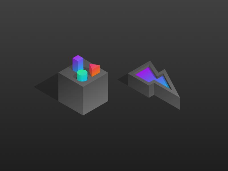 Shapes web moltin api ecommerce icons product lightning shapes bolt gradient isometric colourful