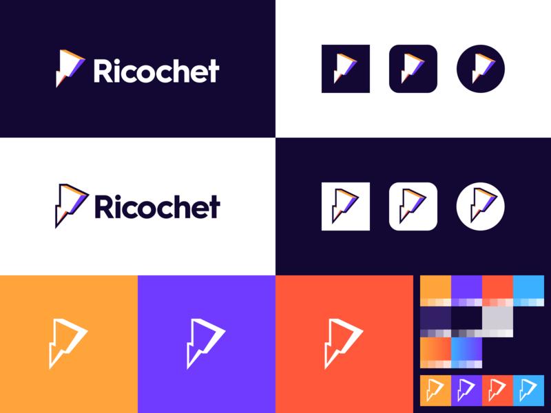Ricochet ricochet bolt icon product gradient identity branding logo
