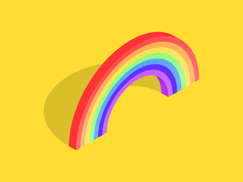 Tranquilized isometric happiness brightness colour rainbow vectober inktober2018 inktober