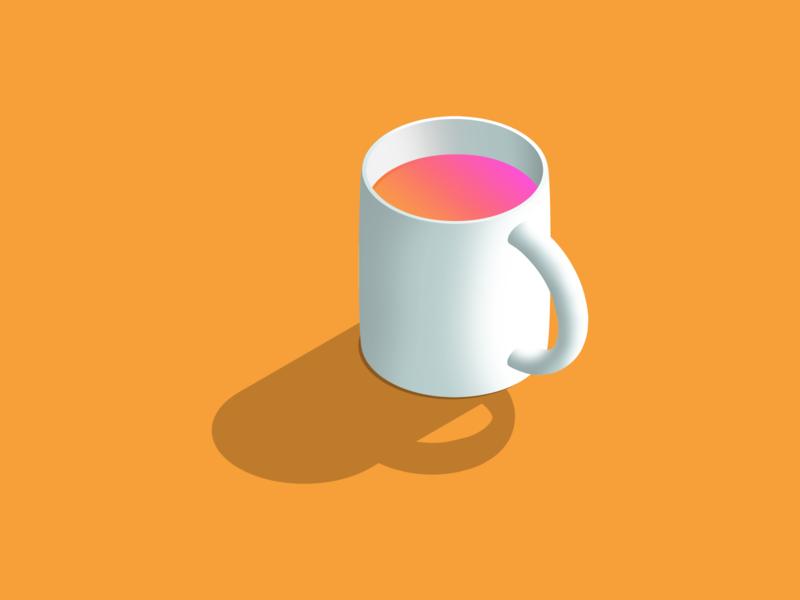 Toxicoffee isometric cup coffee gradient inktober 2018 inktober