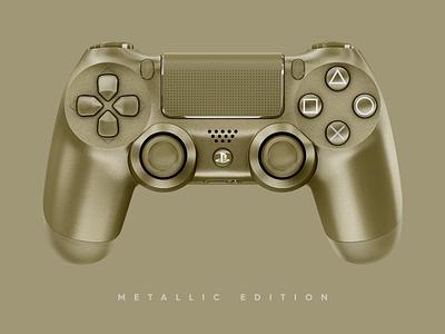 Metallic Edition sony playstation 4 ps4 playstation mockup metallic gaming gamer game dual shock controller