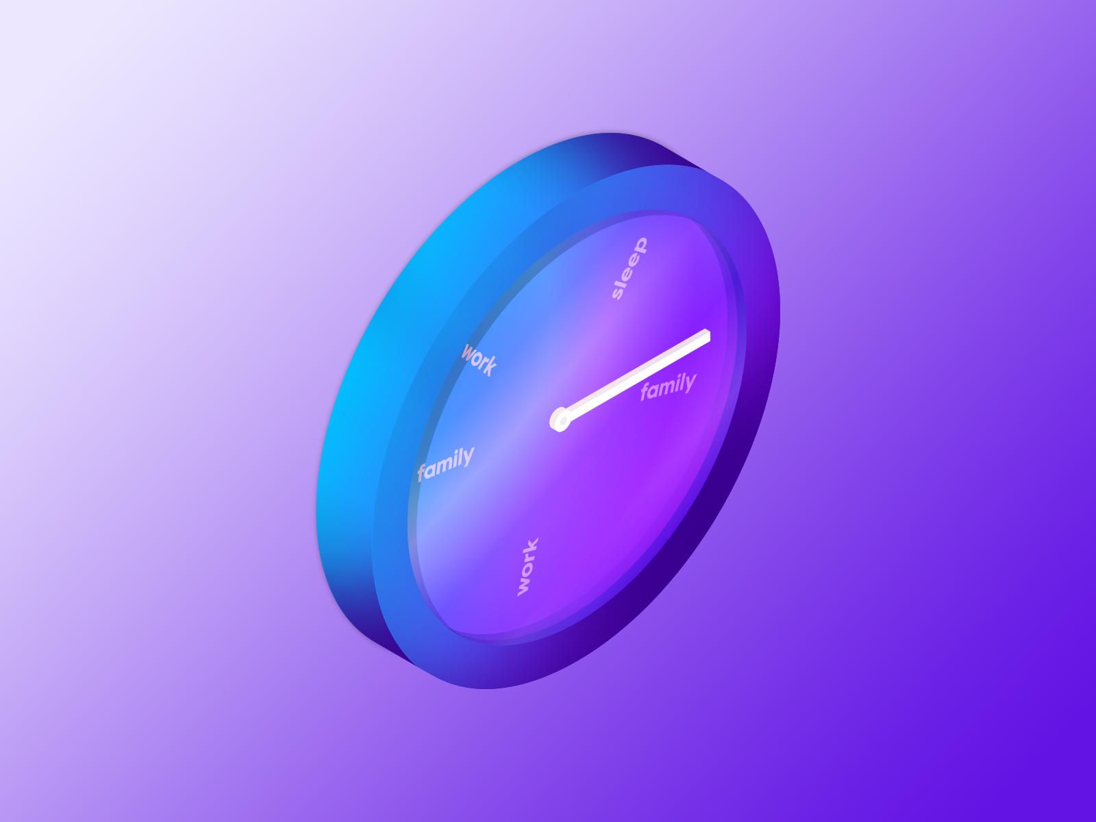24hr Clock gradient isometric illustration isometric graphic designer clock inktober 2018 inktober