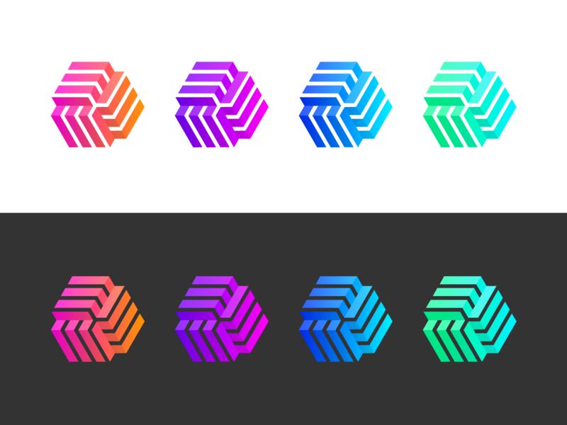 Gradient geometric branding simple identity gradient logo rebound