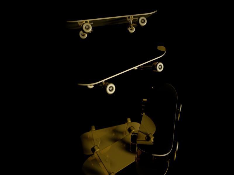 Holy Golden Skateboard render c4d 3dfordesigners 3d golden gold skateboard