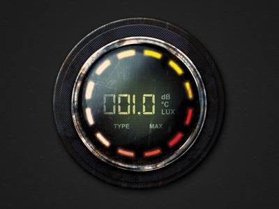 Digital Gauge WIP meter digital gauge shine illustrator photoshop experiment orb digital display grunge textures