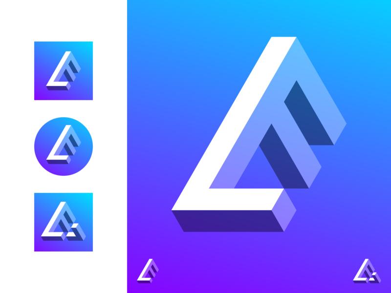 LogoFavs gradient branding lf f l impossible monogram identity logo