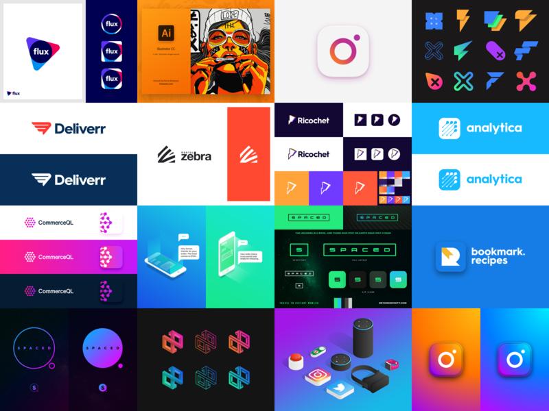 TOP 12 not 9 user interface ui iconography icons icon gradient isometric identity logo designer branding logo