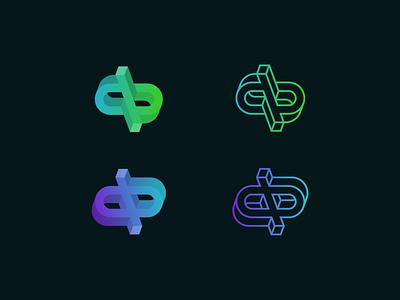 dp/qb gradient ambigram identity monogram branding logo