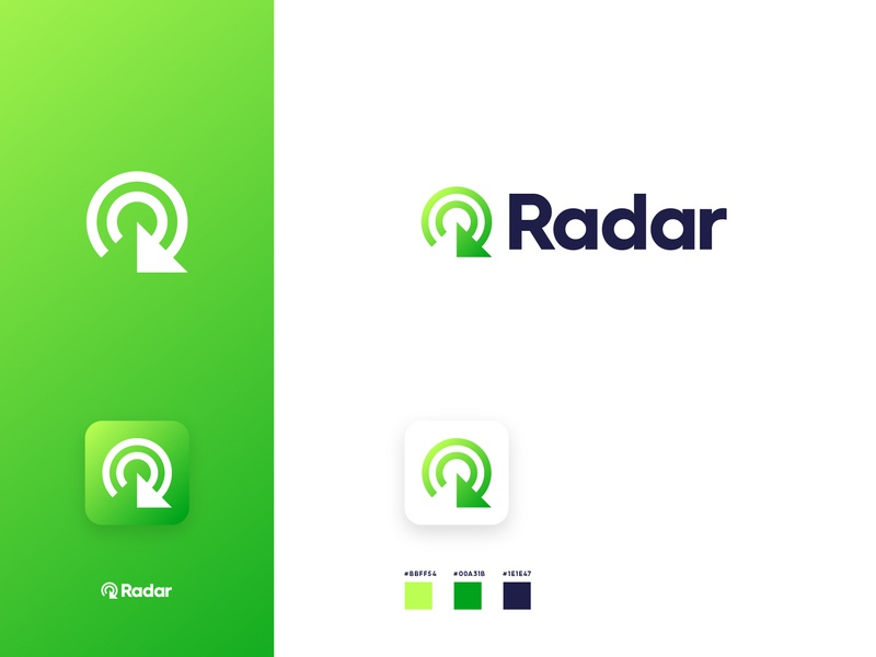 Radar green refresh arrow logo design gradient radar branding identity logo