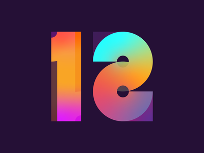 12 21 gradient background typography bright twelve 12 numbers numerals geometric bold colourful gradient