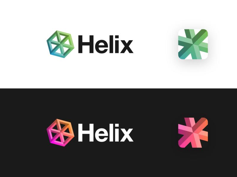Helix helvetica logo design graphic design design startup technology logo identity helix hexagon branding