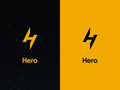 Hero hero superhero fast lightning identity power branding logo