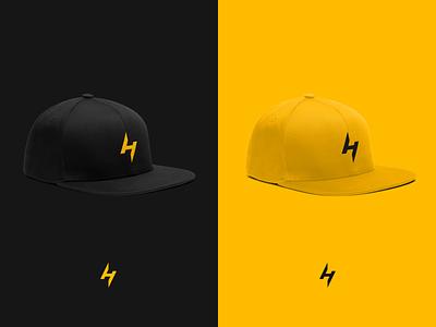 SnapHero yellow branding identity logo lightning baseball cap hat cap snapback apparel