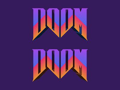 DOOM typography video game retro gradient doom logo practice warmup dribbbleweeklywarmup