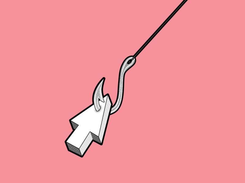 BAIT illustrator vector fish hook hook halftone mouse pointer click bait clickbait bait day 3 inktober2019 inktober