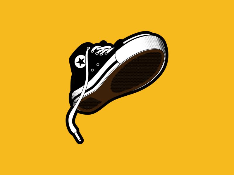 TREAD illustration halftone vector trainers sneakers tread converse inktober2019 inktober