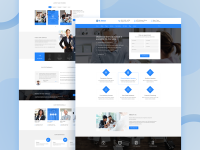 Mister Advisor - Consulting and Finance Template landing page advisor finance ui web design design theme business consultation psd template psd