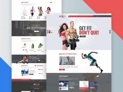 Sport, Gym and Fitness Studio - PSD Template workout theme health fitness gym sports website design design psd psd template ui