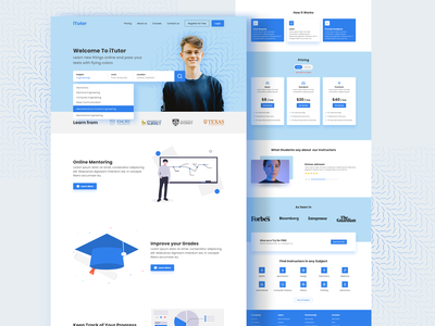 iTutor Landing Page courses subjects landing page instructor teachers students learning tutor website design business design ui