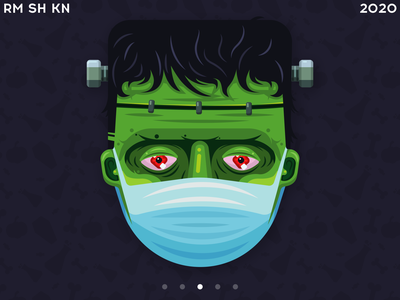 Frankenstein in medical mask sticker design character design illustration vector cartoon man halloween 2020 stayhome trickortreat safety protection surgeon mask medical app undead monster green character