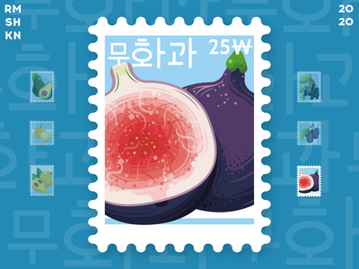 Post stamp with fig fruit healthy food vegan food vegetarian vitamin art style hieroglyphs korean illustration design stamp post vector delicious fruits exotic tropical fruit fig