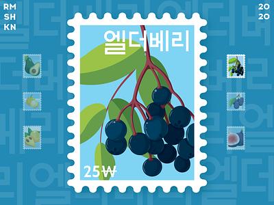 Elderberry post stamp bunch art fruit ui design blue juicy food vegan healthy hieroglyphs korean stamp illustration stamp post leafs elderberry illustration vector berry