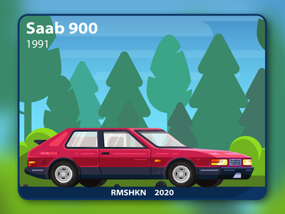 Saab 900 car illustration illustration style design tech background nature tire flat art canvas card ui passenger red forest road wheels automobile vehicle car