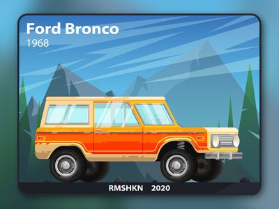 Ford Bronco illustration wheels style 4x4 colorful flat ford mountains yellow card offroad speed tire automobile vehicle car ui design art illustration vector