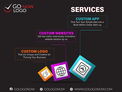 Go Logo Now - Services logo design web app ui ux design illustration 3d animation 2d animation animation branding graphic gologonow