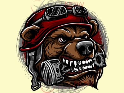 Biker Bear logotype vector ui logos logodesign business logo design animation branding illustration design